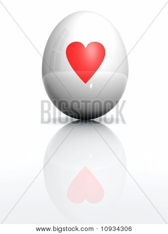 Isolated White Egg With Drawn Heart Symbol