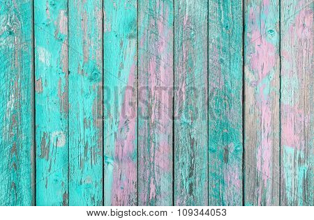 Aquamarine  Wooden Planks Background -