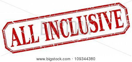 All Inclusive Square Red Grunge Vintage Isolated Label