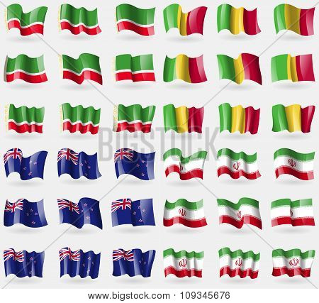 Chechen Republic, Mali, New Zeland, Iran. Set Of 36 Flags Of The Countries Of The World.