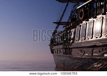 Sailboat pirate ship  against a beautiful landscape