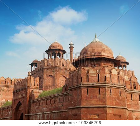 Red Fort in Delhi. UNESCO world Heritage Site, the Red Fort is an iconic symbol of India. Delhi, India.