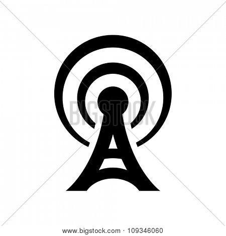Black antenna icon isolated on white