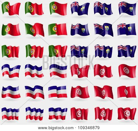 Portugal, Saint Helena, Los Altos, Tunisia. Set Of 36 Flags Of The Countries Of The World.