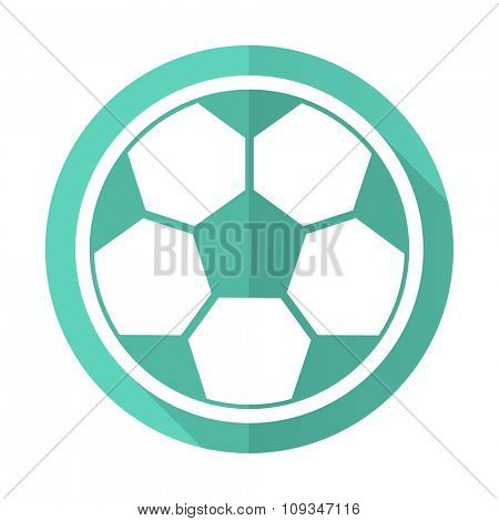 soccer blue web flat design circle icon on white background