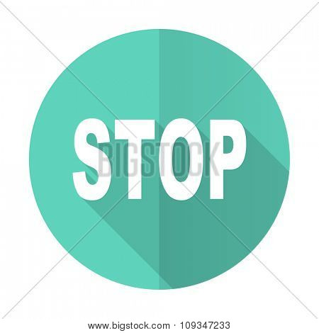 stop blue web flat design circle icon on white background