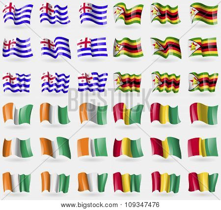 Ajaria, Zimbabwe, Cote Divoire, Guinea. Set Of 36 Flags Of The Countries Of The World.