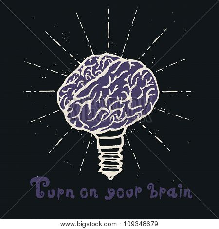 Brain lamp. Idea hand drawn typography poster.