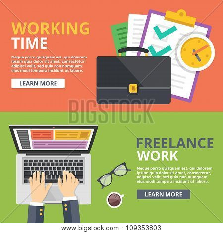 Working time, freelance work flat illustration concept set. Top view, front view web banners