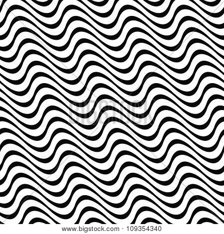 Angular abstract monochrome seamless wave pattern