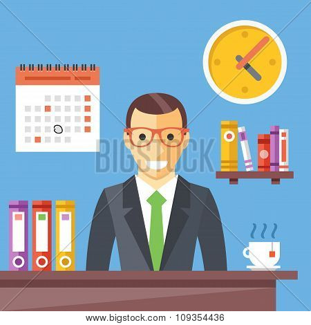 Office worker at work. Happy smiling man sitting at the desktop. Flat vector illustration