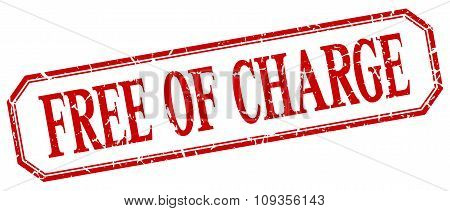 Free Of Charge Square Red Grunge Vintage Isolated Label