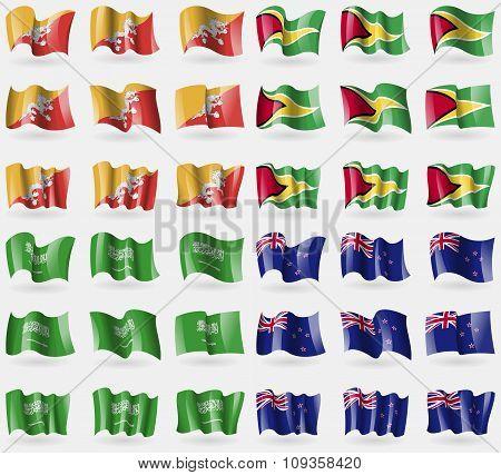 Bhutan, Guyana, Saudi Arabia, New Zeland. Set Of 36 Flags Of The Countries Of The World.