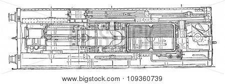 Locomotive compound of Mr. Webb, horizontal section, vintage engraved illustration. Industrial encyclopedia E.-O. Lami - 1875. poster