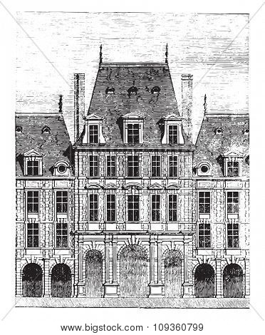 View of one of the pavilions of the Place Royale, vintage engraved illustration. Industrial encyclopedia E.-O. Lami - 1875.