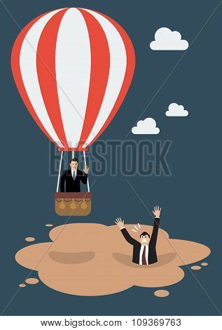 Businessman In Hot Air Balloon Get Away From Quicksand