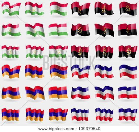 Tajikistan, Angola, Armenia, Los Altos. Set Of 36 Flags Of The Countries Of The World. Vector