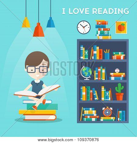 I Love Reading concept