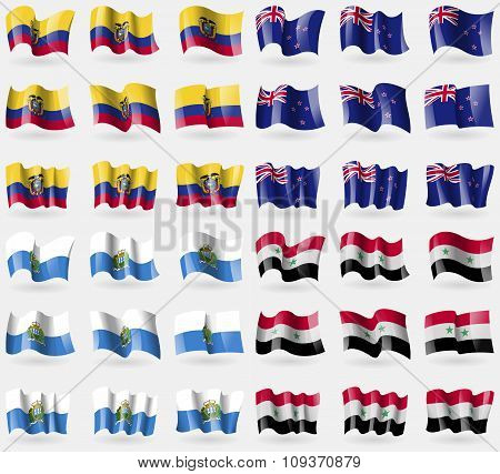 Ecuador, New Zeland, San Marino, Syria. Set Of 36 Flags Of The Countries Of The World. Vector