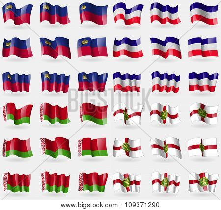 Liechtenstein, Los Altos, Belarus, Alderney. Set Of 36 Flags Of The Countries Of The World. Vector