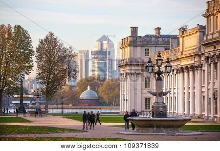 Canary Wharf view from the Greenwich side of the city. London