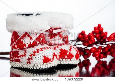 Christmas decoration boot with aquifolium