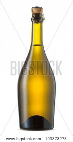 Bottle of sparkling wine isolated on a white