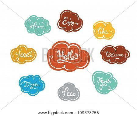 Hand drawn elegant catchwords in clouds for your design. Thank you, Free, Hello, Welcome, Enjoy, Hom