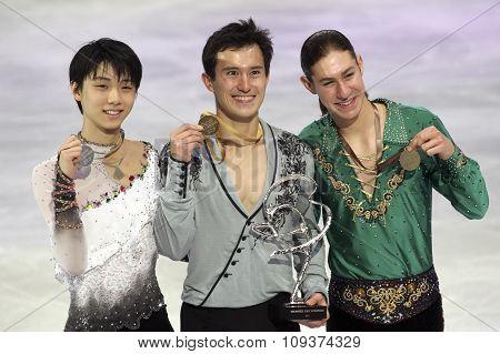 Hanyu (l), Patrick Chan, Jason Brown