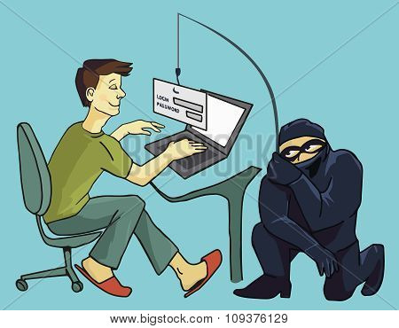 Computer Crime concept.  Internet Phishing a login and password concept. Color illustration poster