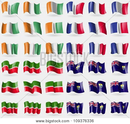 Cote Divoire, France, Tatarstan, Saint Helena. Set Of 36 Flags Of The Countries Of The World. Vector