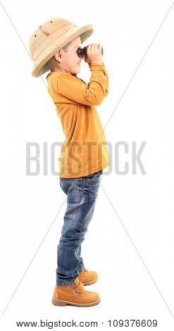 Boy is looking through binoculars