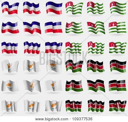 Los Altos, Abkhazia, Cyprus, Kenya. Set Of 36 Flags Of The Countries Of The World.