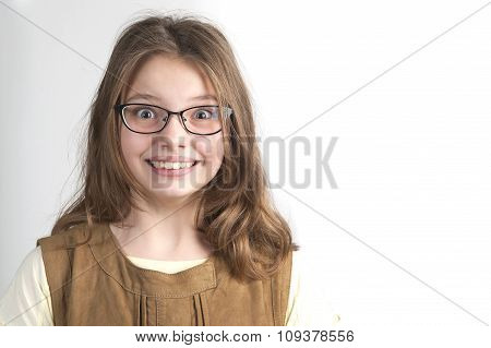 Portrait Of Pretty Funny Girl In Glasses For Vision..