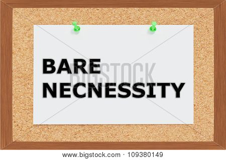 Render illustration of Bare Necessity Title on cork board poster