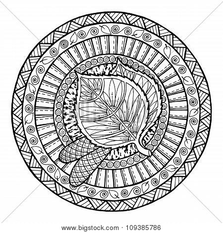 Autumn theme. Mandala tribal doodle ornament.
