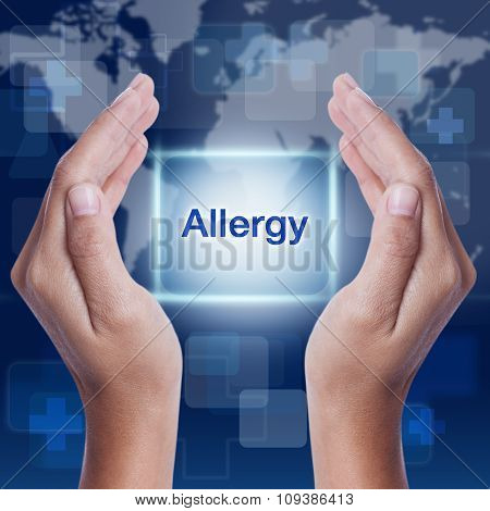 allergy word button on screen. medical concept