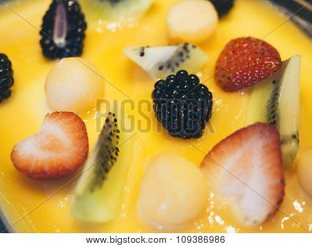 Cake Decoration With Mixed Fruit Berry Strawberry Kiwi