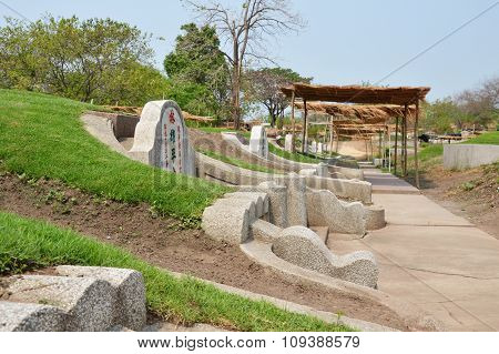 Chinese cemetery and tombstone