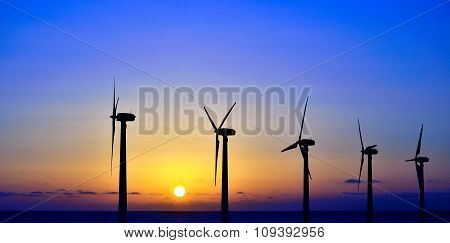 Wind park at sunrise
