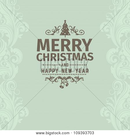 Retro simple vintage Merry Christmas vector greeting green card with Happy New Year wish greeting