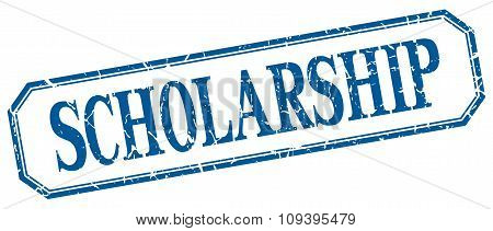 Scholarship Square Blue Grunge Vintage Isolated Label
