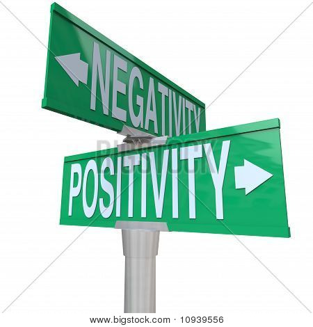 Positivity Vs Negativity - Two-way Street Sign