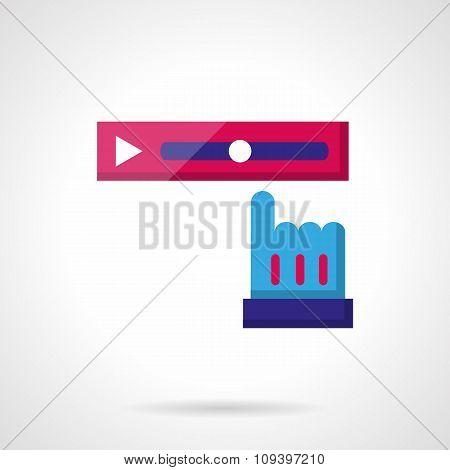 Video rewind color vector icon