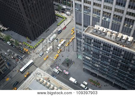 NEW YORK - August 22, 2014: View from New York Hilton Midtown Hotel window