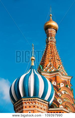 The Saint Basil's Cathedral, is a famous church in Red Square in