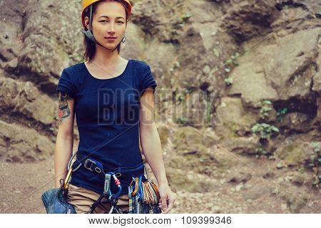Climber Woman Near The Rock