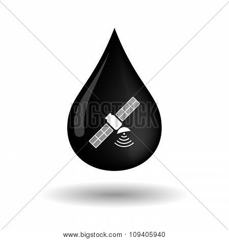 Vector Oil Drop Icon With A Satellite