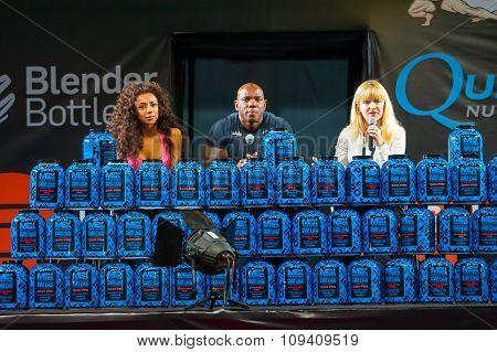MOSCOW, RUSSIA - NOVEMBER 21, 2015: Flex Wheeler presents sports nutrition at the exhibition SN Pro Expo Forum 2015 on November 21, 2015 in Moscow, Russia