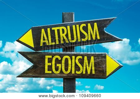 Altruism - Egoism signpost with sky background